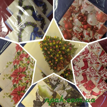 Набір святковий новорічний (скатертина - 1 шт., серветки - 12 шт.) (1 комплект)