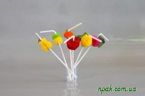 Трубочки для напоїв з гофрою «Фрукти» (d=5mm, l=240mm) (50 шт.)